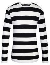 Camii Mia Men's Cotton Crew Neck Long Sleeves Stripe T-Shirt