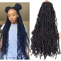 Dorsanee Goddess Faux Locs Crochet Hair 22 Inch Curly Wavy Pre-looped Soft Goddess Locks Individual Crochet Braids Premium Synthetic Hair Extension for Black Women Braiding Hair(22inch 6packs,1B#)
