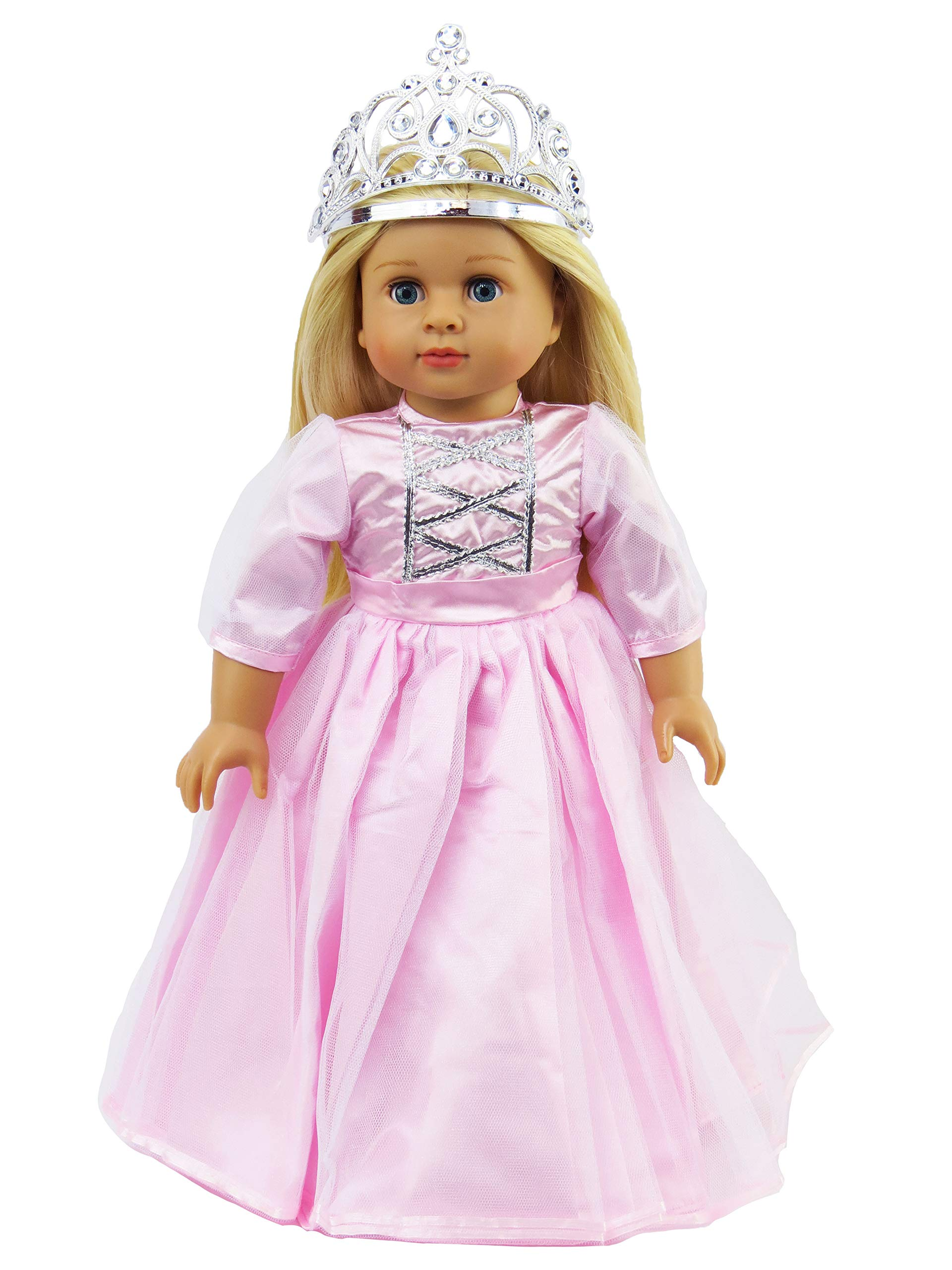 American Fashion World Pink and Silver Princess Gown with Crown fits 18 Inch Doll
