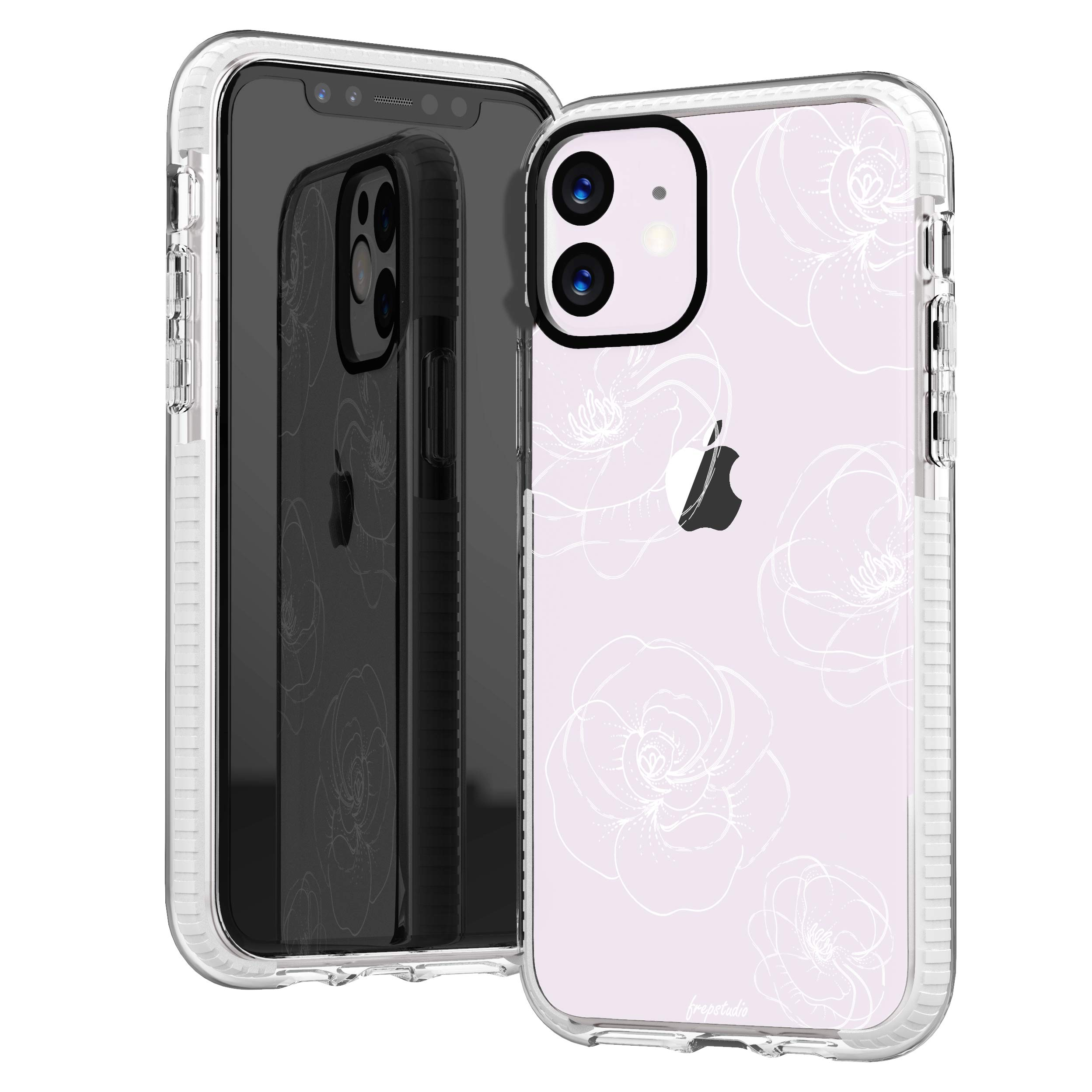 iPhone 11 Clear Case,Girls Women Cute Trendy Girly Line-Drawing Elegant Classical White Roses Floral Flowers Daisy Less is More Elegant Soft Protective Clear Case with Design Compatible for iPhone 11