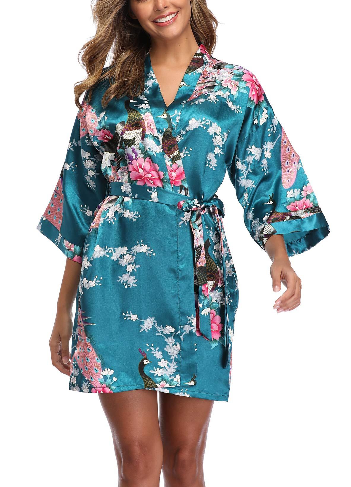 UrHot Womens Short Floral Kimono Robe Peacock and Blossom Bathrobe for Wedding Party