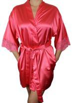 Women's Satin Kimono Bridesmaid Silky Short Robe Lace Trim Sleeves and Pockets