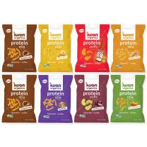 IWON Organics, Vegan Variety Pack of 8 Tasty Snacks, Protein Puffs and Snack Stix, High Protein and Organic Healthy Snacks, 7 Flavors, 8 Bags, 1.5 Ounce