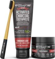 My Magic Mud - Activated Charcoal Teeth Whitening Kit, Toothpaste, Tooth Powder & Bamboo Toothbrush, Clinically Proven (Cinnamon Clove)
