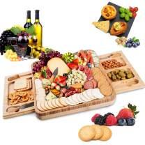 Saike Large Bamboo Cheese Board Set,Charcuterie Platter Serving Tray,Cheese Board Serving Tray - Perfect Choice for Housewarming and Wedding Gift (14.17 inch)