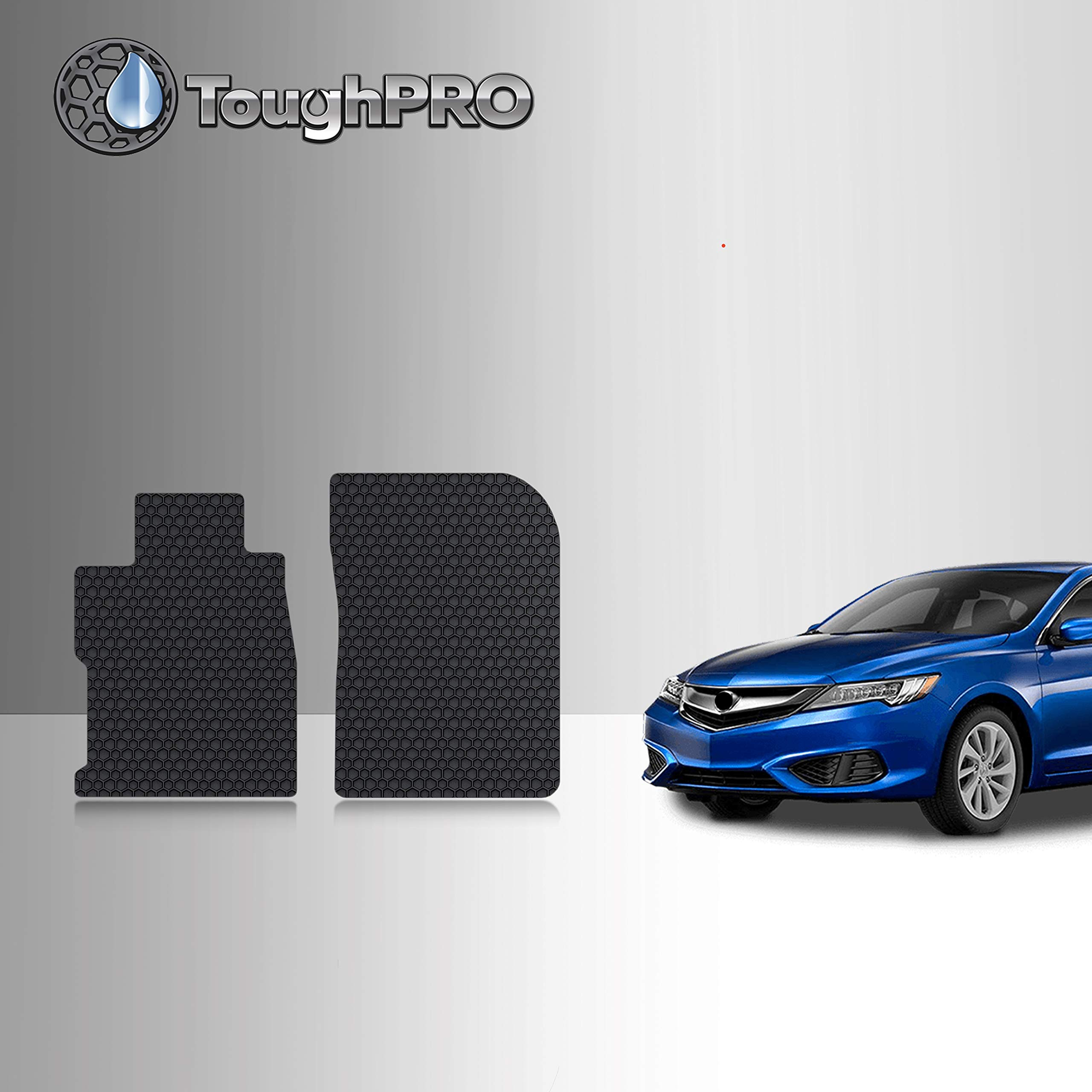 TOUGHPRO Floor Mat Accessories Compatible with Acura ILX - All Weather - Heavy Duty - (Made in USA) - Black Rubber - 2013, 2014, 2015, 2016, 2017, 2018, 2019, 2020 (Front Mats)