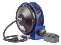 Coxreels PC10-3016-F Compact efficient Heavy Duty Power Cord Reel with a Duplex G.F.C.I. Metal Industrial Receptacle