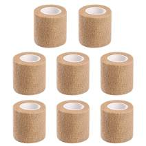 8PCS Athletic, Sports wrap Tape & Bandage Wrap Stretch Self Adherent Tape for Wrist, Ankle,1.96CM X 4.92Yards Per Roll