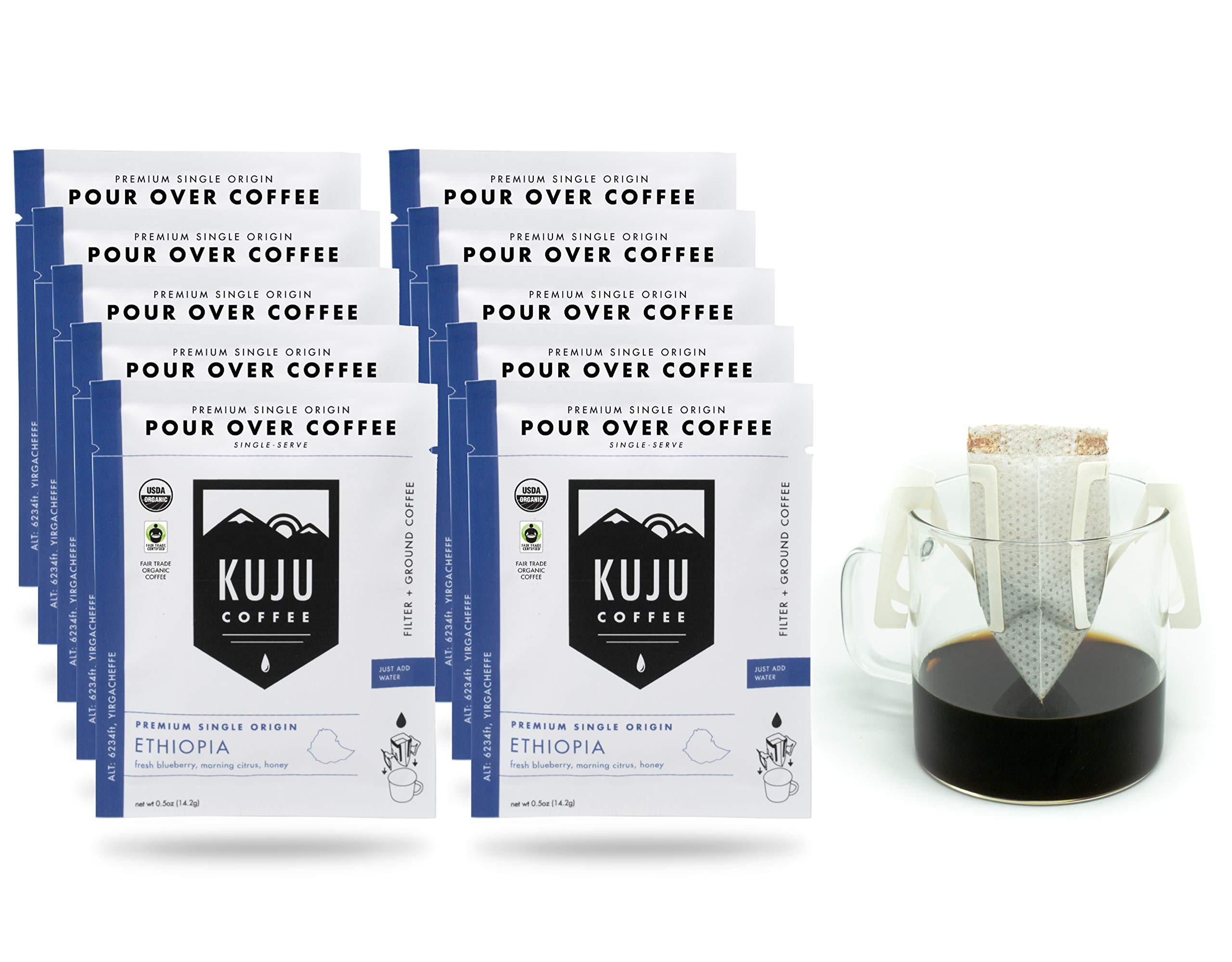 Kuju Coffee Premium Single-Serve Pour Over Coffee   Fair Trade Certified, USDA Organic, Single Origin Coffee, Eco-Friendly   Ethiopia - Yirgacheffe, 10-pack
