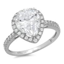 Clara Pucci 2.35 CT Pear Cut Halo Solitaire Wedding Engagement Ring Bridal Band 14k White Gold