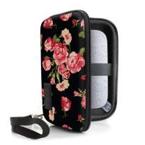 USA Gear Hard Shell Portable Printer Case with Scratch-Resistant Interior, Extra Security Options, and Wrist Strap - Compatible with HP Sprocket, Fujifilm Instax, Canon Ivy CLIQ, and More - Floral