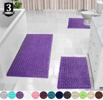 Yimobra Shaggy Chenille 3 Piece Bath Mat Set, Extra Large Bathroom Mats + Bathroom Rugs + Contour Toilet Mat, Soft and Comfortable, Water Absorbent and Thick, Non-Slip, Machine Washable, Lavender