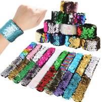 10 Pcs Magic Mermaid Sequins Reversible Slap Bracelets,2-Color Reversible Slap Wristband for Kids Birthday Party Favors Toy