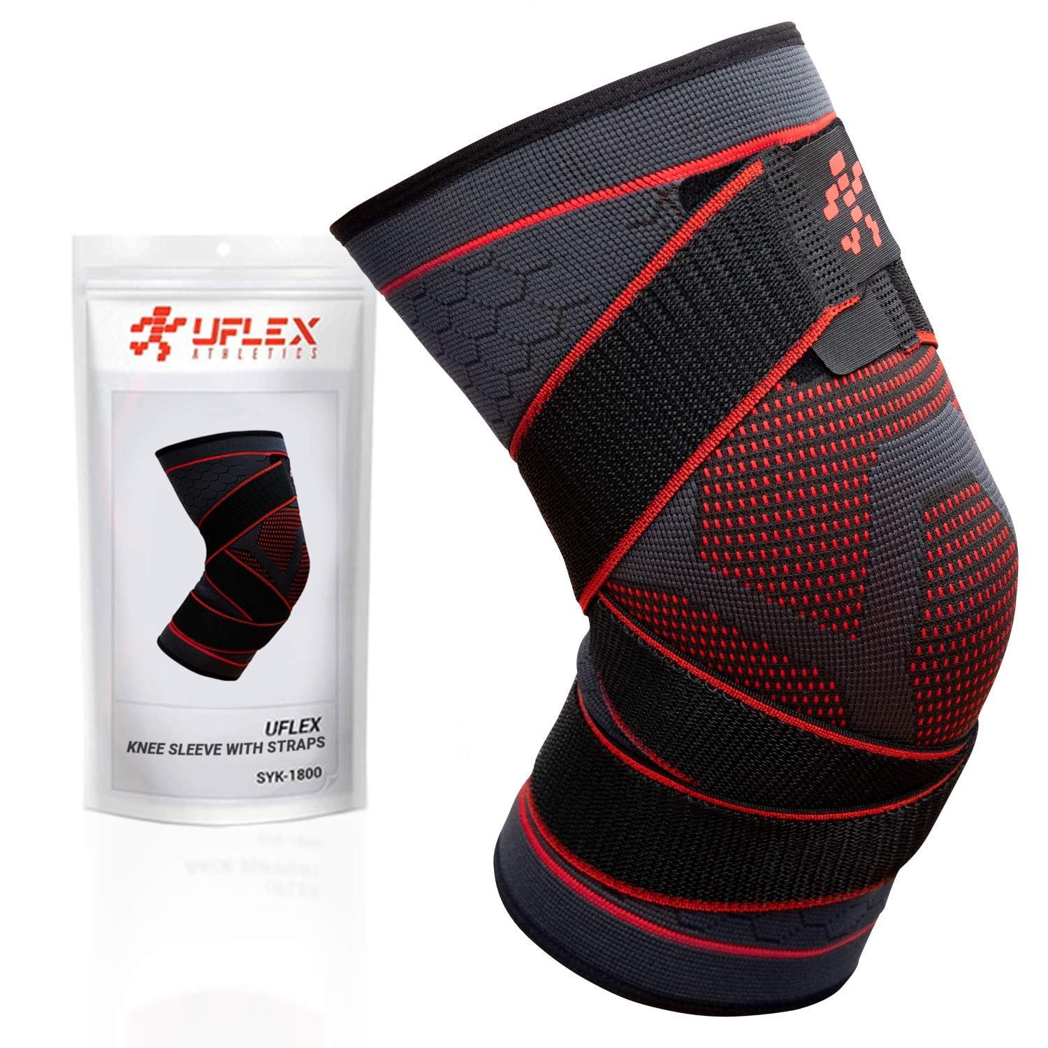 UFlex Athletics Knee Compression Brace for Men and Women - Non Slip Sleeve with Straps for Pain Relief, Meniscus Tear, Sports Safety in Basketball, Tennis - Single Wrap