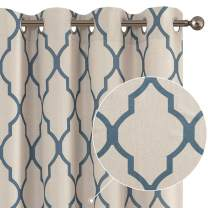 Curtains Living Room Darkening Drapes Bedroom Linen Textured Window Treatment Panels 72 inch Long One Panel Blue on Beige