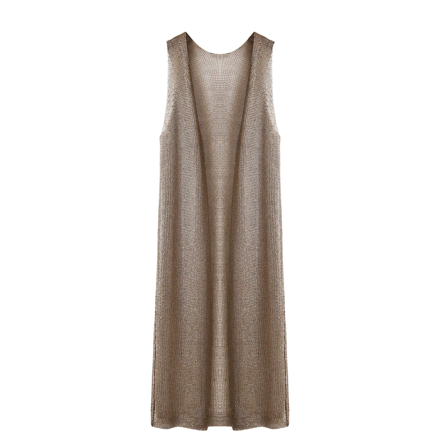 KUNLIHUANG Women Sleeveless Long Drape Open Front Knitted Cardigan Sweater Duster Vest