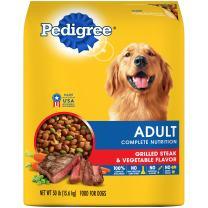 PEDIGREE Adult Complete Nutrition Grilled Steak & Vegetable Flavor Dry Dog Food 30 Pounds