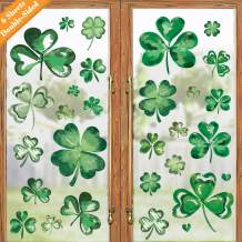 Ivenf St. Patrick's Day Decorations Window Clings Decor, Extra Large Shamrock Decal Stickers for Kids School Home Office Accessories Party Supplies Gifts, 6 Sheets 79 pcs