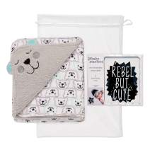 """Baby Starters 2-Ply Embroidered Baby Blanket and 12 Piece Photo Prop Cards Gift Set for Newborns and New Moms (Black and White, 30""""x40"""")"""
