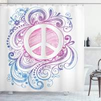 """Ambesonne Groovy Shower Curtain, Classic Hand Drawn Style Peace Sign and Swirls Freedom Change Hope Roll, Cloth Fabric Bathroom Decor Set with Hooks, 84"""" Long Extra, White Pink"""