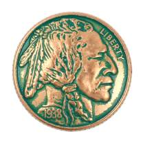 Bezelry 12 Pieces Indian Head Coin Style Metal Shank Buttons. 21mm (13/16 inch) (Copper Green)