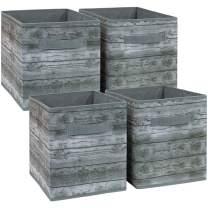 Sorbus Foldable Storage Cube Basket Bin, Rustic Wood Grain Print, 4-Pack (Rustic Bin - Gray)