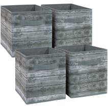Sorbus Foldable Storage Cube Basket Bin, Rustic Wood Grain Print, 4-Pack (Rustic Bin - Gray)