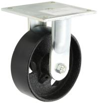 "E.R. Wagner Plate Caster, Rigid, Cast Iron Wheel, Roller Bearing, 1200 lbs Capacity, 6"" Wheel Dia, 2"" Wheel Width, 7-1/2"" Mount Height, 5-1/2"" Plate Length, 5"" Plate Width"