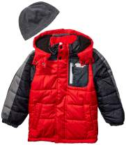 LONDON FOG Boys' Little Color Blocked Puffer Jacket Coat with Hat
