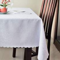 """Stain Resistant Turkish White Tablecloth Polyester Table Linen, Rectangular, Square, Round, Washes Easily, Non Iron - Thanksgiving, Christmas, Dinner, Easter, Wedding (White, Square 70""""x70"""")"""