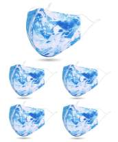 5 PCS Unisex Washable Reusable 2 Layers Face Madks, Galaxy Blue