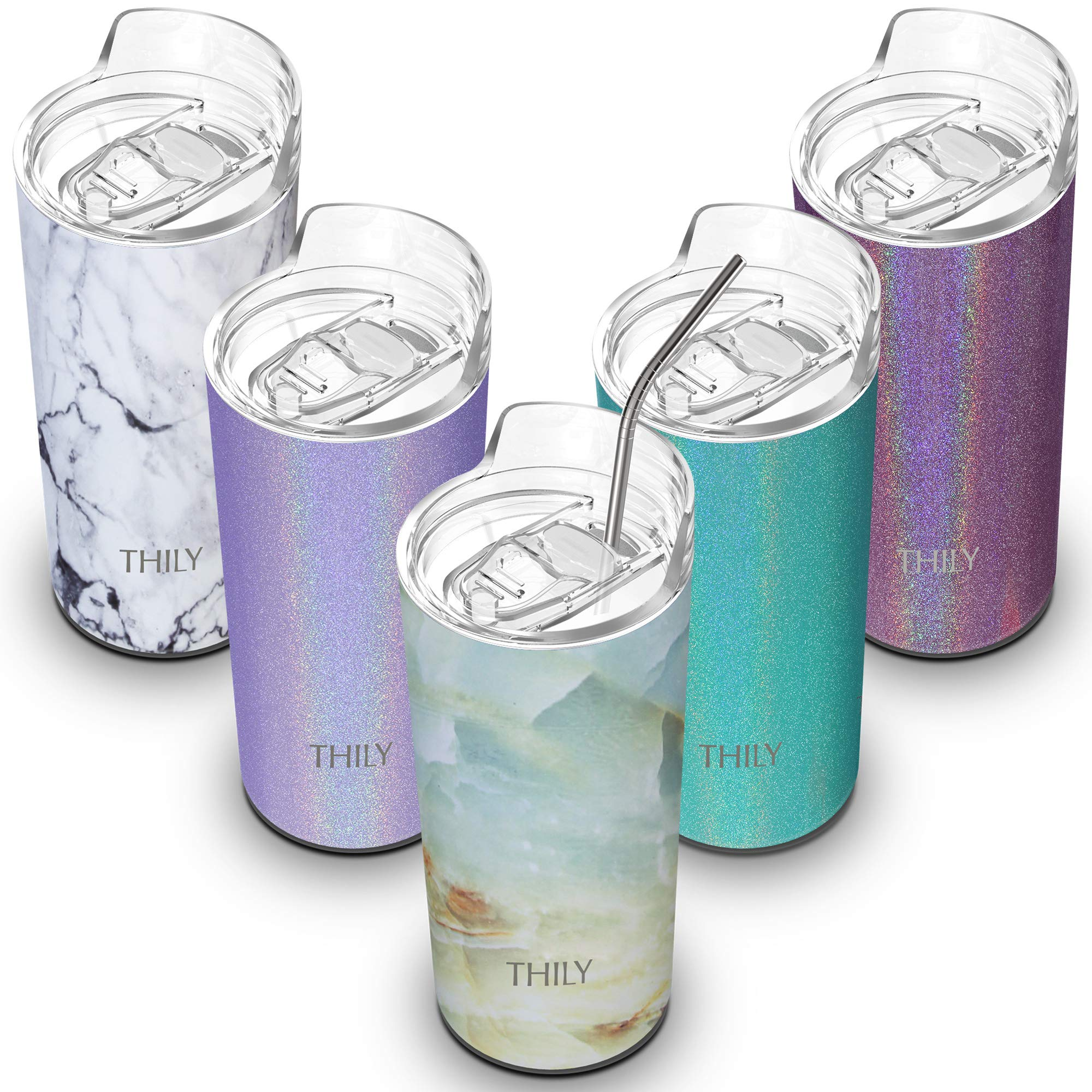 Vacuum Insulated Travel Skinny Tumbler - THILY 16 oz Triple-Insulated Cup with Splash-proof Lid and Reusable Straw, BPA Free, Birthday Christmas Gift, Keep Cold for Ice Water, Coffee, Opal Marble