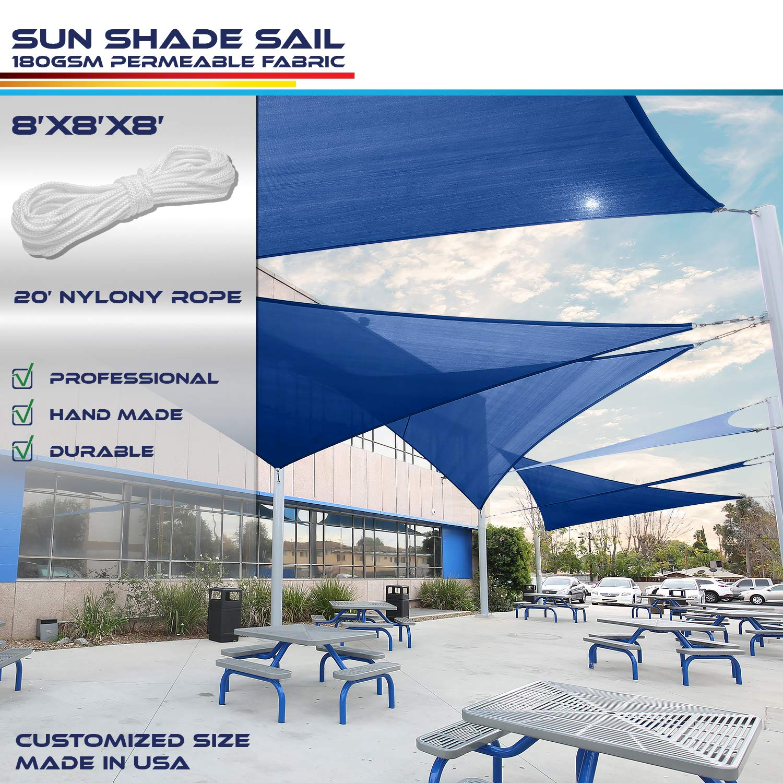 Windscreen4less 8' x 8' x 8' Triangle Sun Shade Sail - Ice Blue Durable UV Shelter Canopy for Patio Outdoor Backyard - Custom Size Available