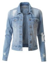 LE3NO Womens Vintage Long Sleeve Denim Jacket with Pockets