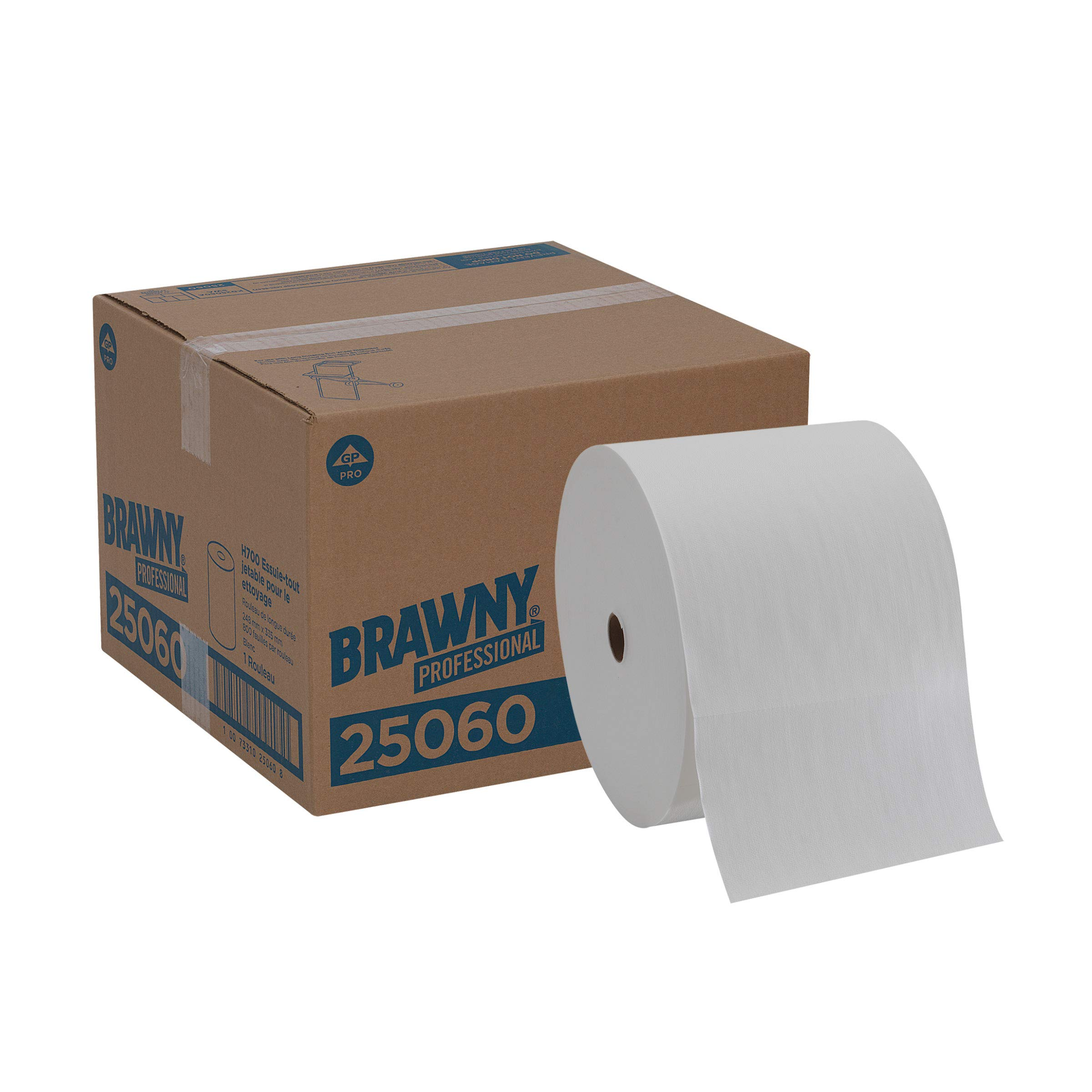 Brawny Professional H700 Disposable Cleaning Towel by GP PRO (Georgia-Pacific), Long Distance Roll, White, 25060, 1 Roll of 800 Cloths