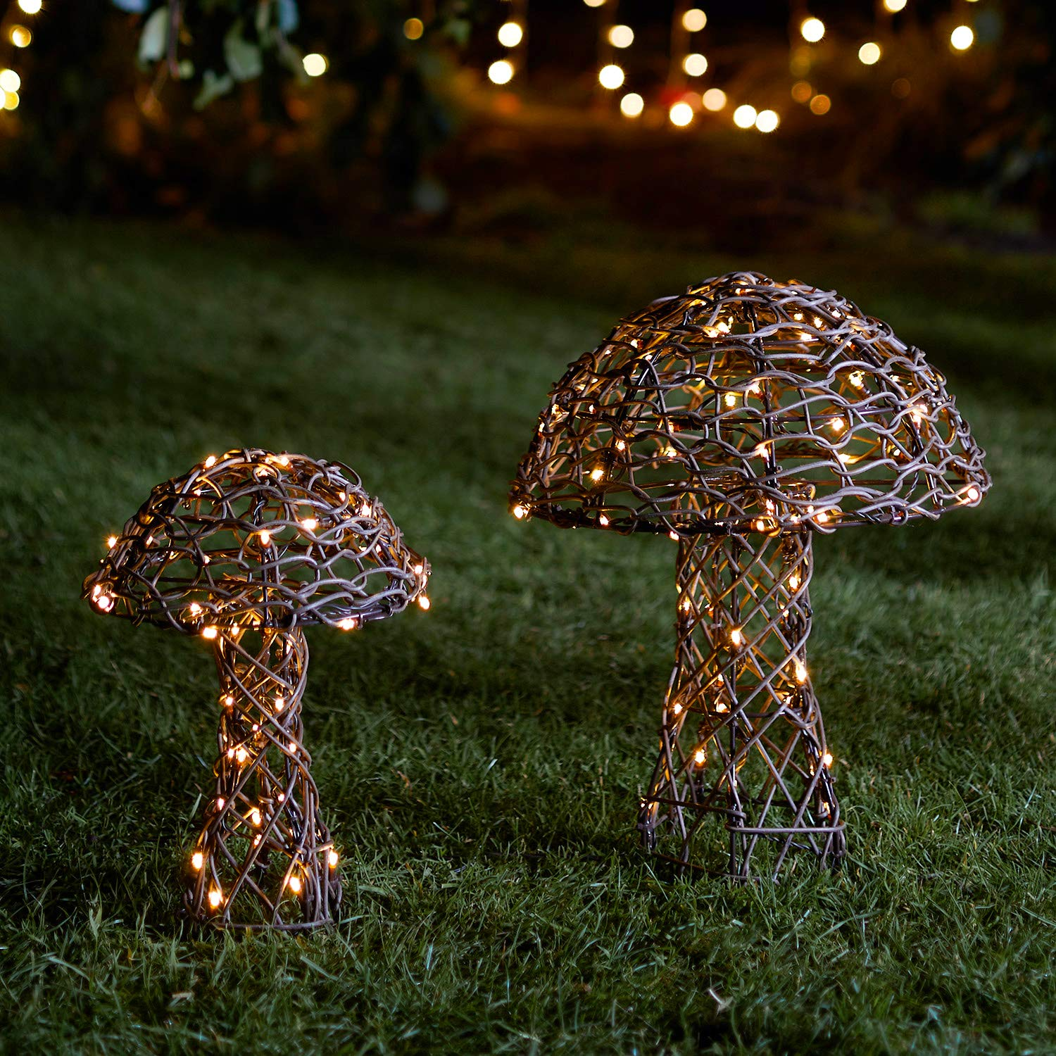 Lights4fun, Inc. Set of 2 Rattan Toadstool Mushroom Outdoor Battery Operated LED Light Up Decorations