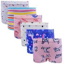 Cczmfeas Girls Hipster Cotton Underwear Boyshort Panties 6 Pack