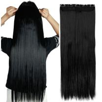 """S-noilite 17""""/23"""" Curly Straight 3/4 Full Head One Piece 5clips Clip in Hair Extensions Long Poplar Style for Girl Lady Women 48 colors (23"""" - Straight, Dark Black)"""