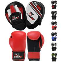 ADii Skin-Tec Leather Focus Mitts and Boxing Gloves Set Hook & Jab Target Focus Pads with Punching Mitt Kit MMA Muay Thai Martial Arts Training Gloves Pads