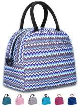 Elvira Insulated Tote Lunch Bag with Removable Adjustable Shoulder Strap for Women Water Resistant Reusable Cooler Lunch Box for Work School Picnic Hiking Beach-Wave Stripe-1