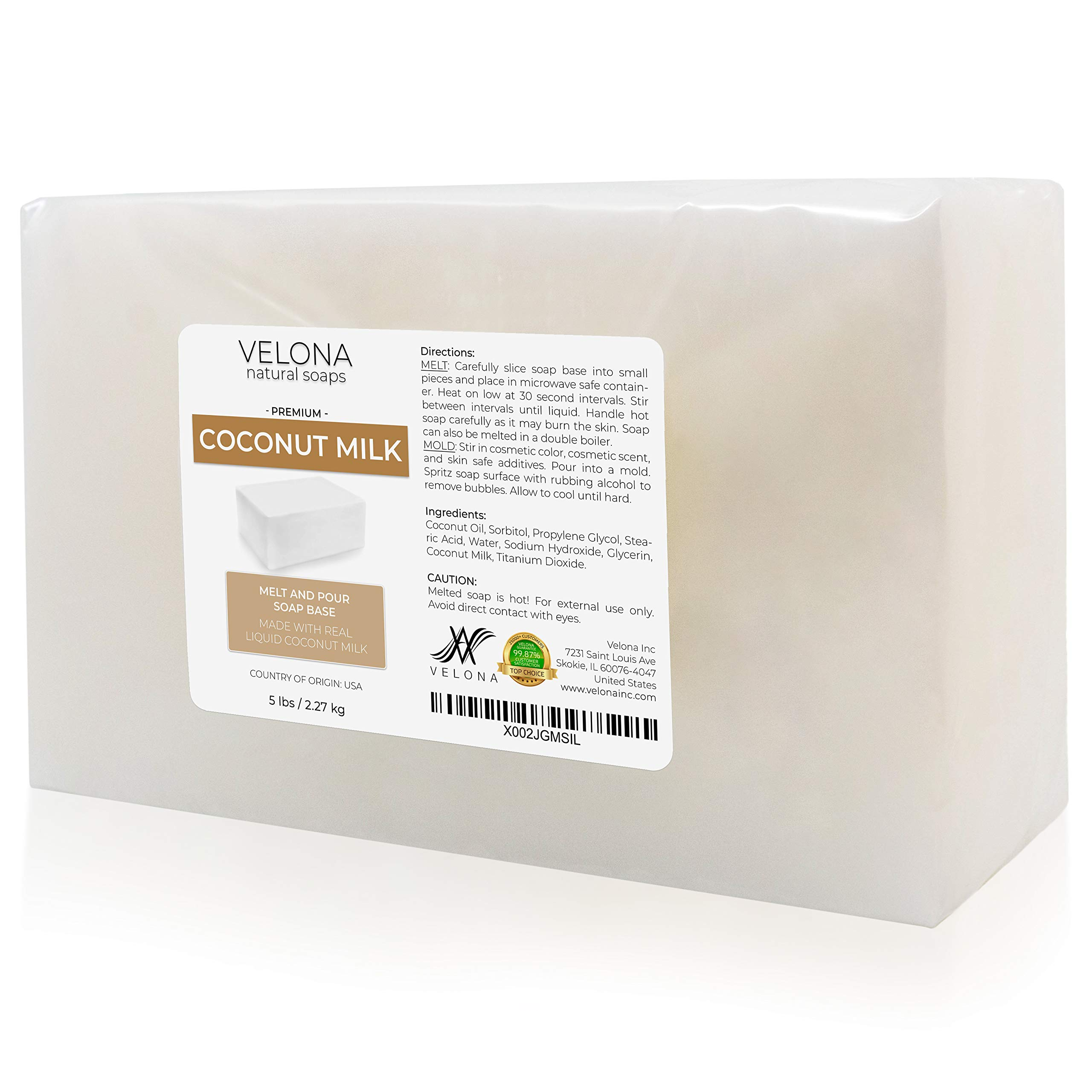 10 LB - Coconut Milk Glycerin Soap Base by Velona | SLS/SLES Free | Melt and Pour | Natural Bar for The Best Result for Soap Making