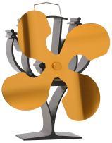 VODA New Designed 4 Blades Heat Powered Stove Fan for Wood/Log Burner/Fireplace - Eco Friendly(Gold)