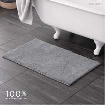 "Welhome 100% Microfiber Drylon Non Slip Bath Rug - Latex Backing - Ultra Absorbent - Quick Dry - Soft - Durable - Hotel Spa Bathroom Collection - 21""x 34"" - Gray"