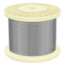 """IZOKIN 250 Feet of 1/8"""" 316 Stainless Steel Wire Rope Aircraft Cable for Deck Cable Railing Kits DIY Balustrades 7x7"""