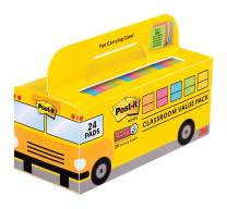 Post-it Super Sticky Notes Value Pack, 24 Pads/Pack, Convenient School Bus Carry and Storage Case, 2X The Sticking Power, 3 in. x 3 in, Bright Colors (654-24SSBUS)