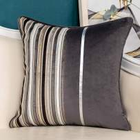 Yangest Grey Striped Patchwork Velvet Throw Pillow Cover Silver Leather Cushion Case Modern Neutral Pillowcase for Sofa Couch Bedroom Living Room Home Decoration,18x18 Inch