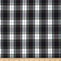 Carr Textile Polyester Uniform Plaid Poplin, Yard, Black/White/Red