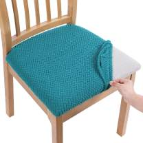 smiry Seat Covers for Dining Room Chairs Stretch Jacquard Dining Chair Seat Covers with Ties - Set of 6, Teal