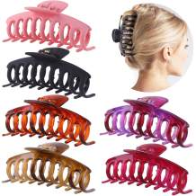 GLAMFIELDS Big Hair Claw Clips 4.3 Inch Non slip Large Claw Clip for Women and Girls Thin Hair, Hair Styling Accessories, Strong Hold Hair Clips for Thick Hair 6 Pack
