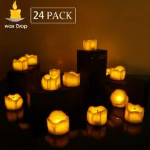 Newest Wick Tea Lights Flickering Flameless Candles, Small Wax Dripped Battery Operated LED Candle Tealights for Christmas Party Thanksgiving Day Amber Yellow 24 Packs, Patented Design.